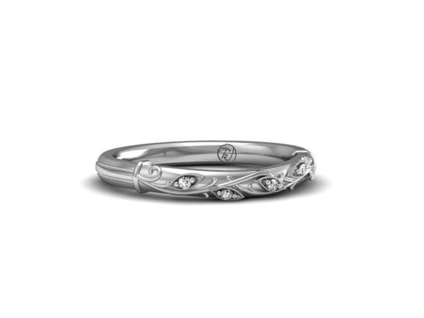 Organic, Garden Vines Micro-set Diamonds Wedding Band