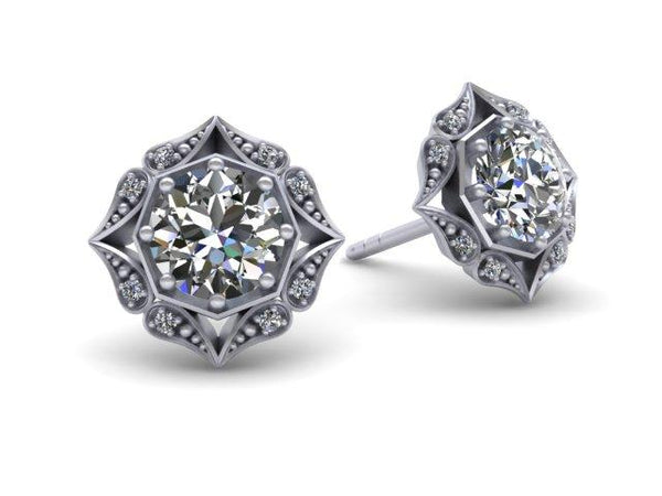 Lila Vintage Inspired Diamond Halo Earrings Platinum Gold