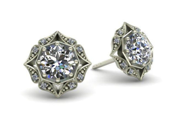 Lila Vintage Inspired Diamond Halo Earrings White Gold