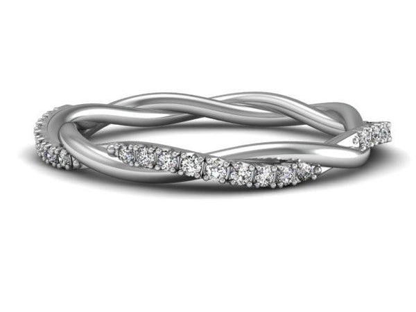 Pave Diamond Unique Twist Band Custom Jewelry Boston