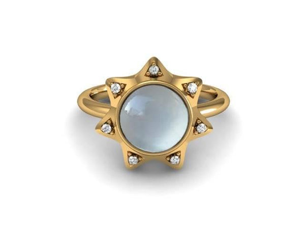Moon Star Ring in 14k Yellow Gold with Diamonds