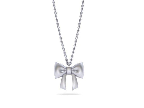 Mini Bow Pendant Platinum Necklace - Custom Design - Bostonian Jewelers Boston Jewelers