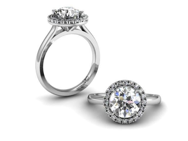 Custom Halo Engagement Ring Classic Halo Solitaire Boston Jewelry