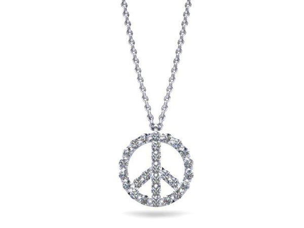 Diamond Peace Symbol Necklace Platinum - Custom Design Boston