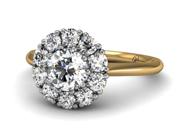 Diamond Cluster Ring Victorian Art Deco Platinum 18k Yellow Gold, custom engagement ring