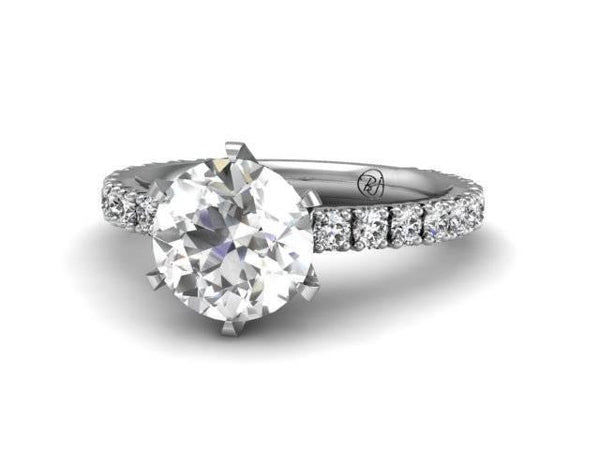 Classic Pave Engagement Ring - Bostonian Jewelers - Custom Jewelry Boston