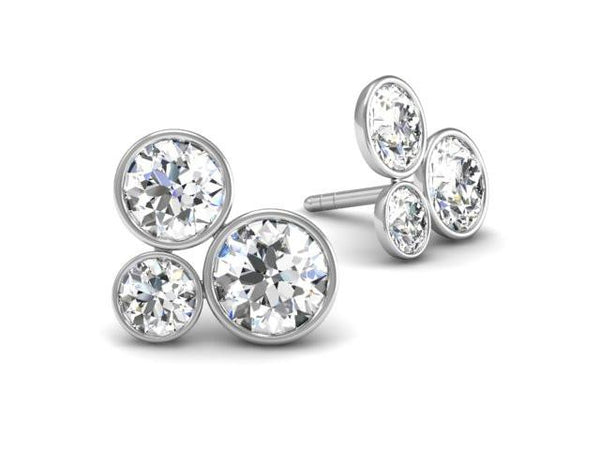 Pop diamond earrings - The power of three.  White Gold