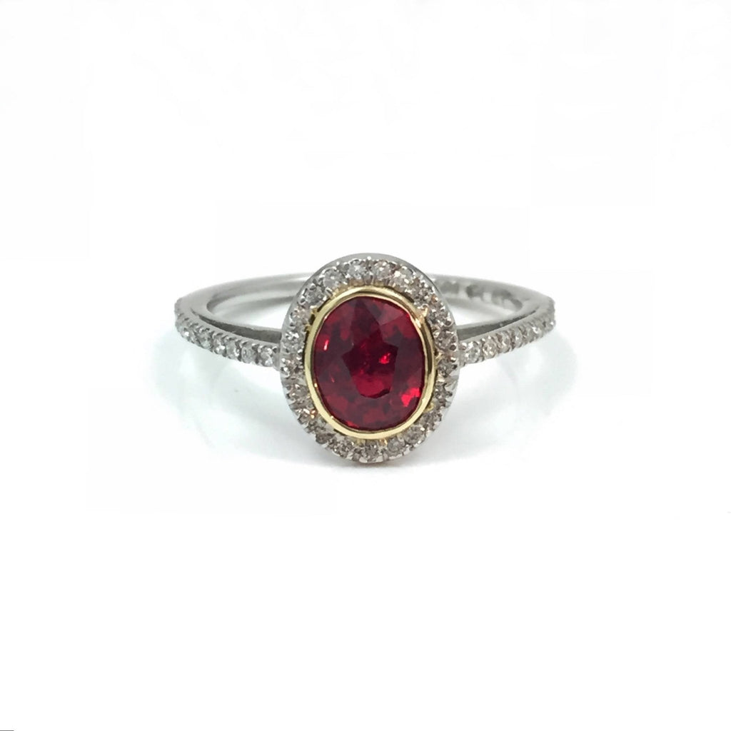 Oval Ruby Diamond Halo Delicate Band Alternative Engagement Ring Boston Jewelry