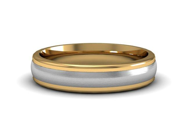 Satin Finish Two tone wedding Band