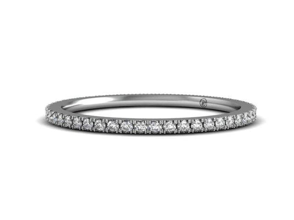 Slim French Pave Wedding Ring - Delicate Thin Band - Bostonian Jewelers