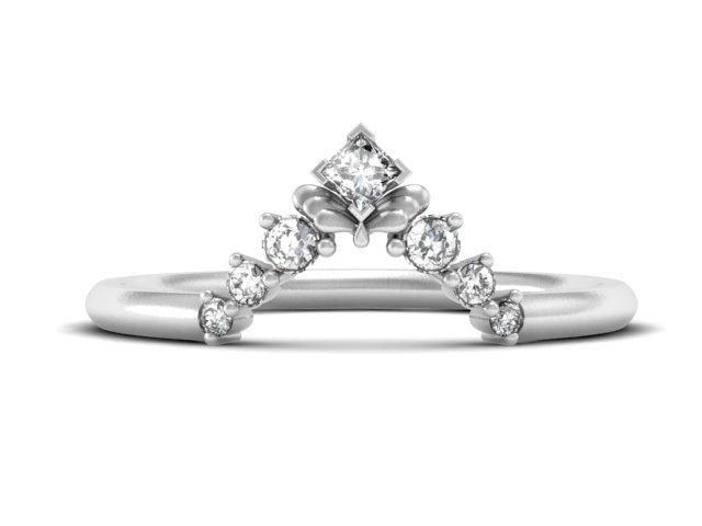 Unique Delicate Stacking Band-Princess Cut Diamond And Round Diamond-Unique Boston Jewelers
