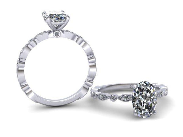 Bostonian Theresa Delicate Oval Engagement Ring Unique Custom Design