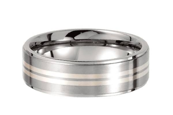 Titanium Double Sterling Stripe Band