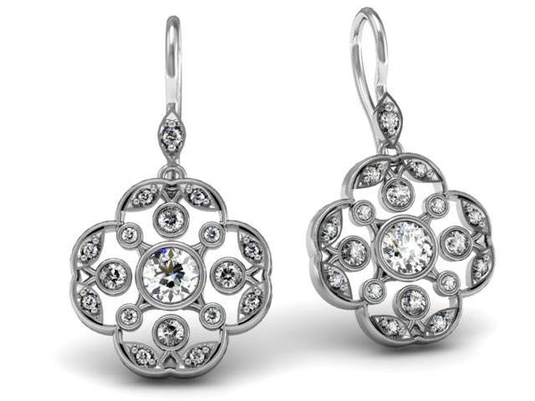 Diamonds Set in White Gold Custom Drop Earrings