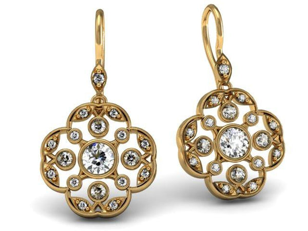Diamonds Set in Yellow Gold Custom Drop Earrings