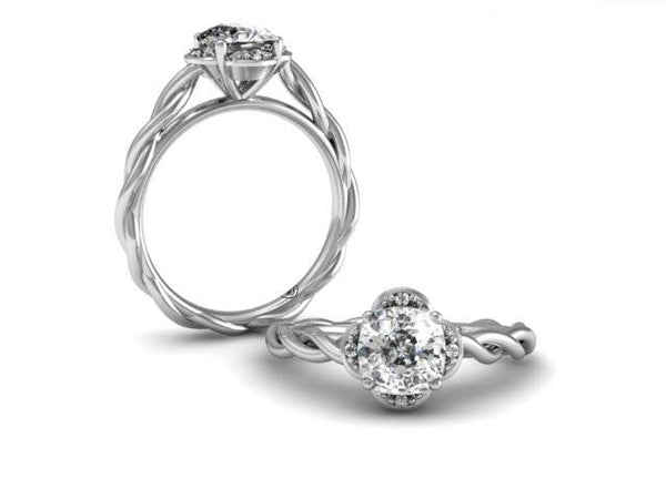 Unique Quatrefoil Diamond Halo Wisp Twist Band Unique Custom Boston Jeweler