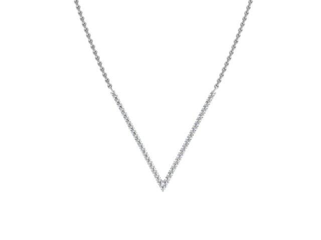 Slim V Pendant Necklace Pave Diamonds White Gold