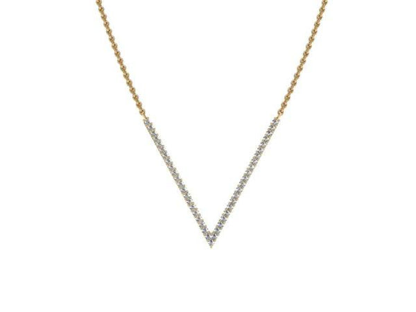 Slim V Pendant Necklace Pave Diamonds Yellow Gold