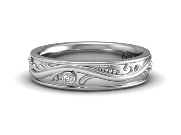 Vines Collection Band with Diamonds - Platinum