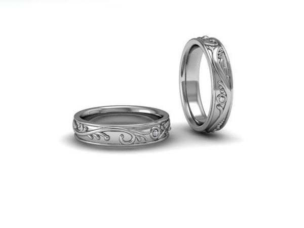 Vines Collection Band with Diamonds - White Gold