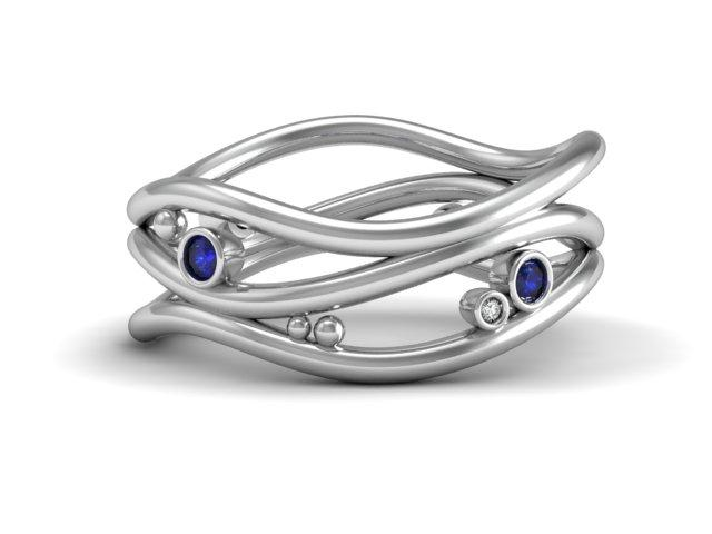 Waves Unique Design Ring - Custom Design - Boston Jewelers