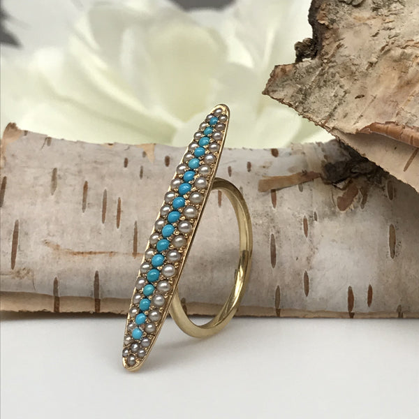 Antique Edwardian Turquoise and Seed Pearl Ring
