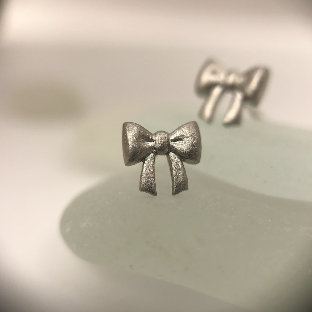 Platinum Mini Bow Earrings