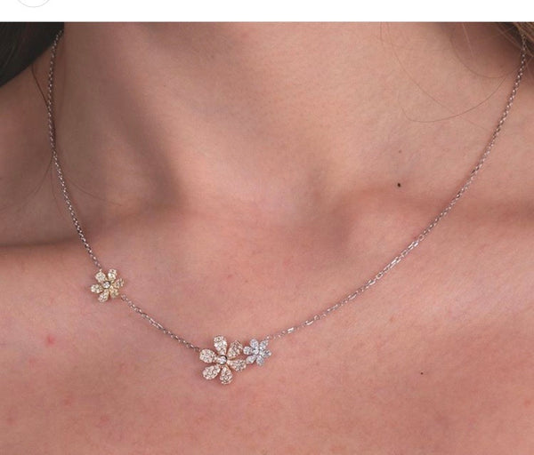 Flower Power Pave Diamond Necklace