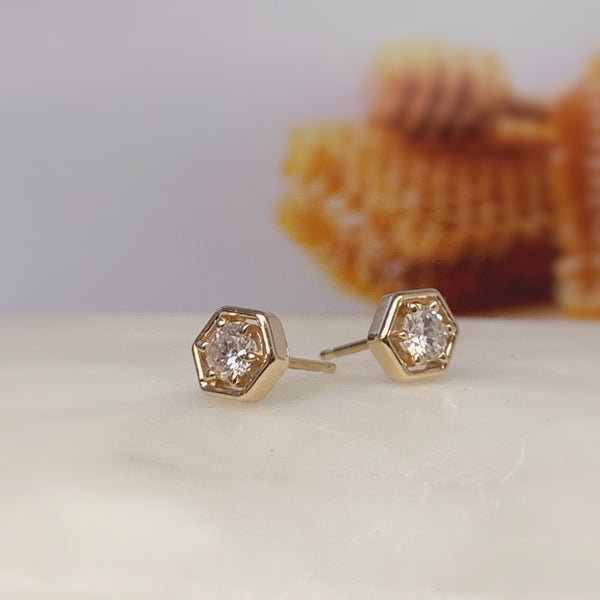 Diamond Honeycomb Stud Earrings - Ready Made