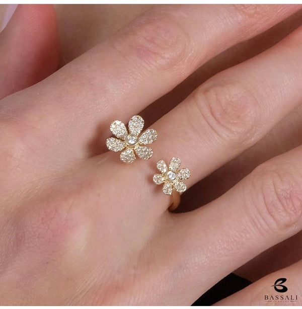 Flower Petals open band ring. Pave Diamonds open ring.