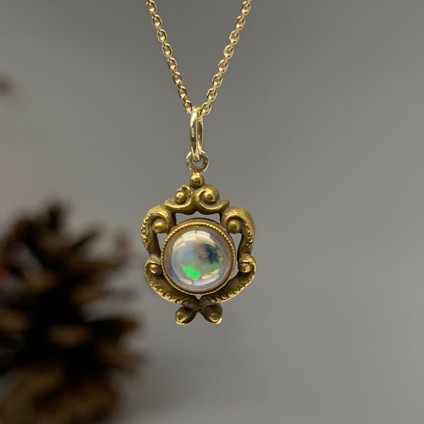 Antique Gothic Revival Opal Pendant