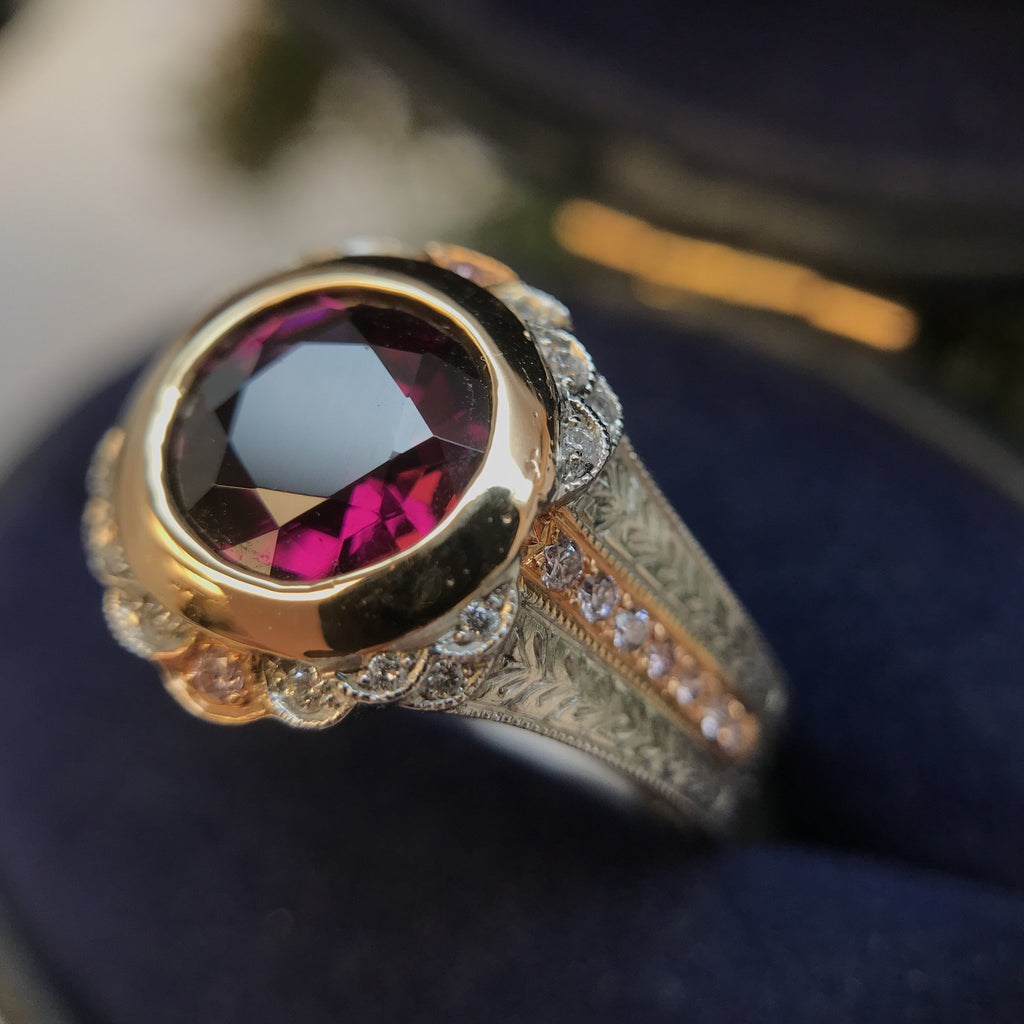Rubelite Pink Tourmaline With Pink Diamonds Set In Platinum And Rose Gold By Boston Jewelers