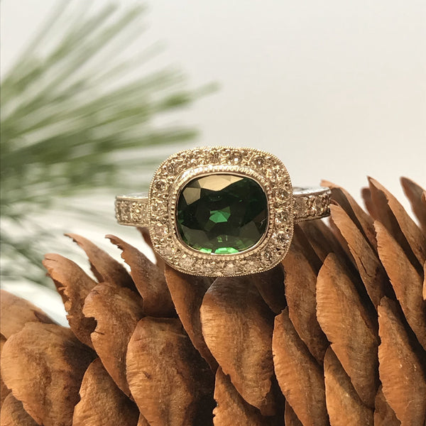 Green Tourmaline Halo