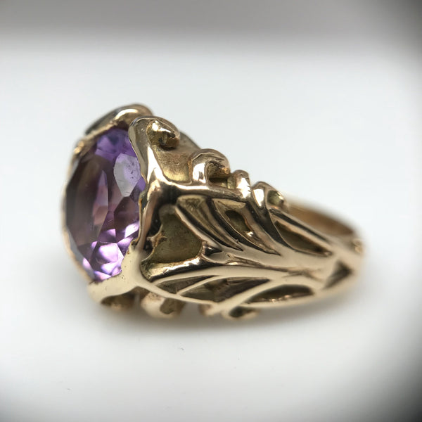 Art Nouveau Antique Vintage Ring Two Dimensional Relief Patterns Amethyst Boston Jewelers