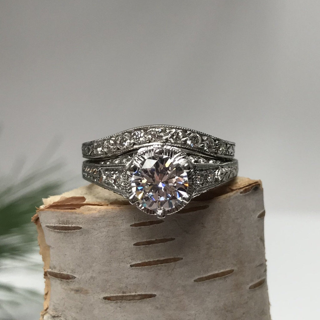 Pave Diamond Curved Wedding Ring with Contour Engraving - Boston Vintage Jewelry