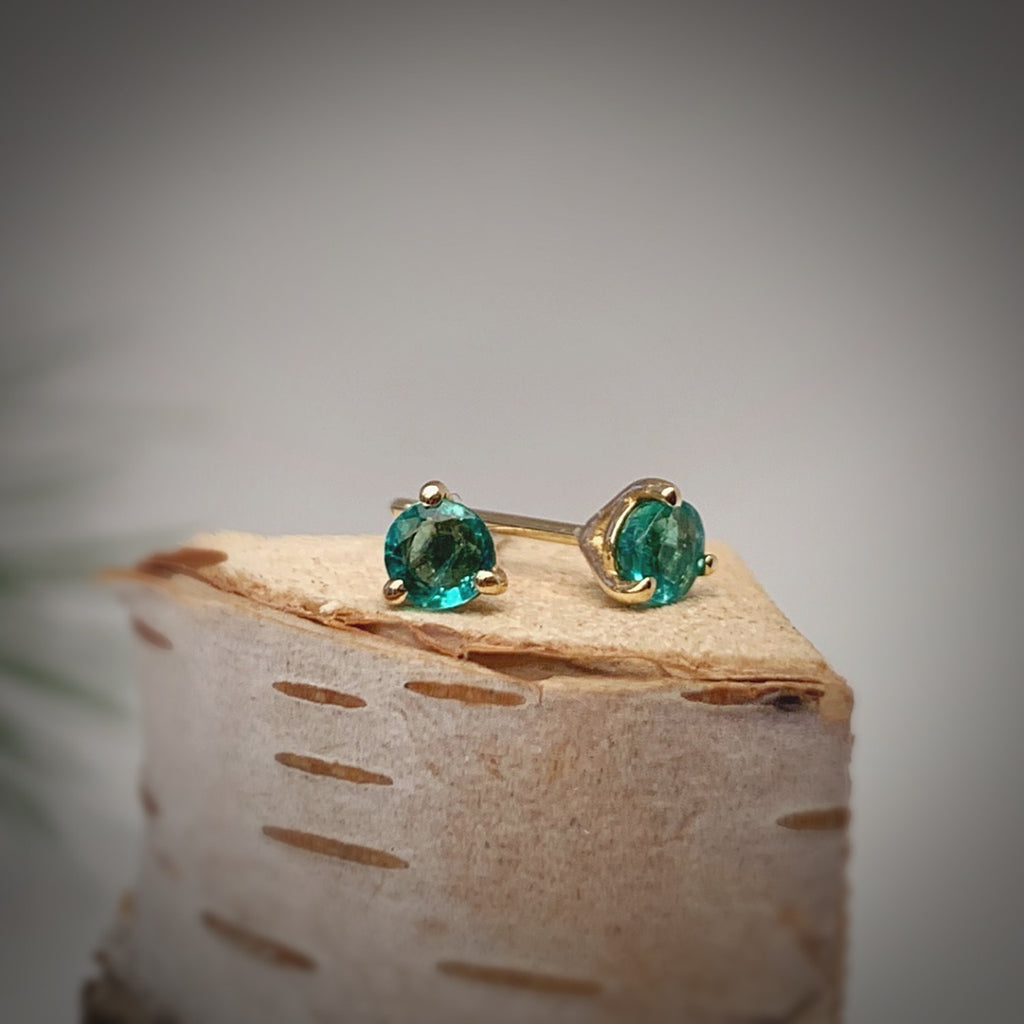 Emerald Three-Prong Stud Earrings