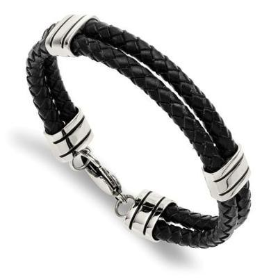 Stainless Black Leather Bracelet