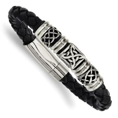 Black Leather Antiqued Bracelet