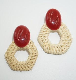 RESIN RATTAN EARRING