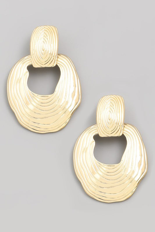 Warped metal oval earrings