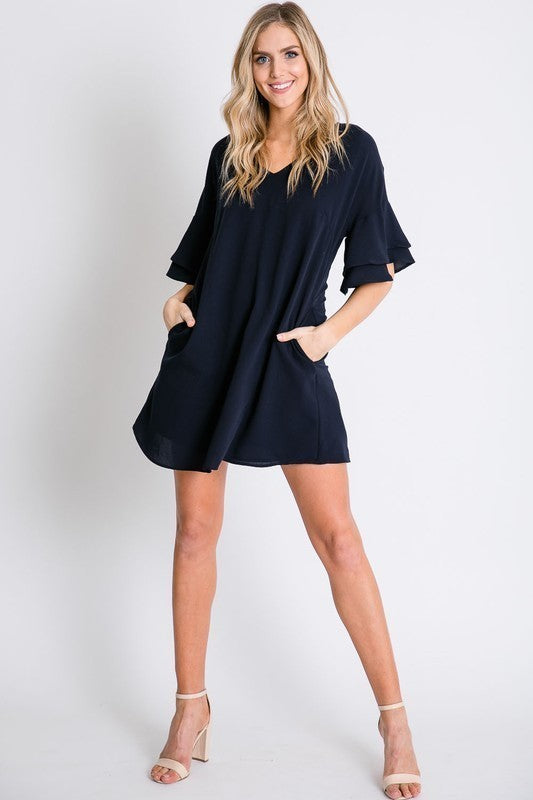 Navy tiered bell sleeve dress