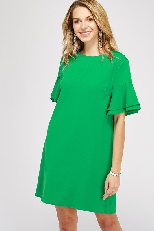 SOLID DOUBLE RUFFLE BELL SLEEVE DRESS