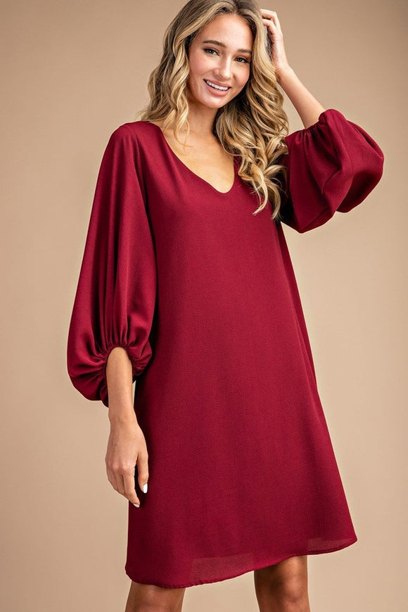 Solid balloon sleeve mini dress