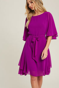 solid round neck half sleeve dress