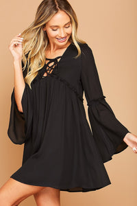 Solid long sleeve woven dress with spaghetti