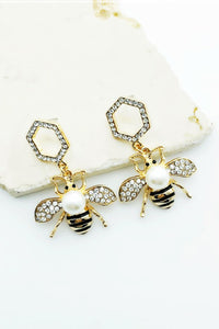 Dangling Bee Stud Hexagon Earring