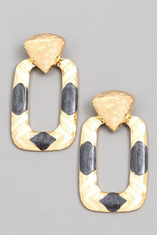 Black and Gold Metallic Oval Earrings