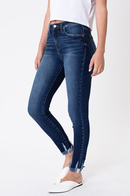 High Rise Dark Washed Jeans with Frayed and Distressed Bottom