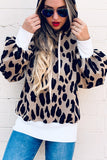 Leopard Casual Hoodie with Pockets