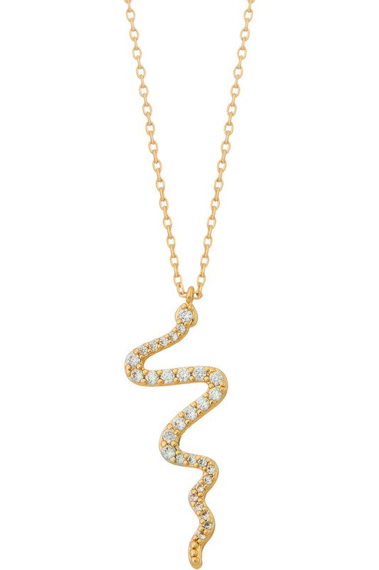 Snake pendant necklace with rhinestones